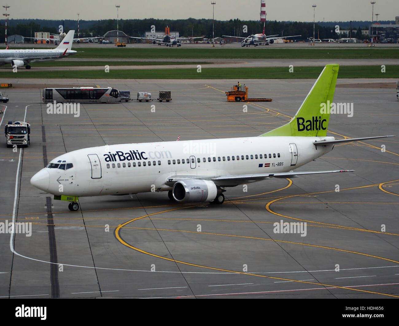 YL-BSS (airraft) at Sheremetyevo International Airport pic2 - Stock Image