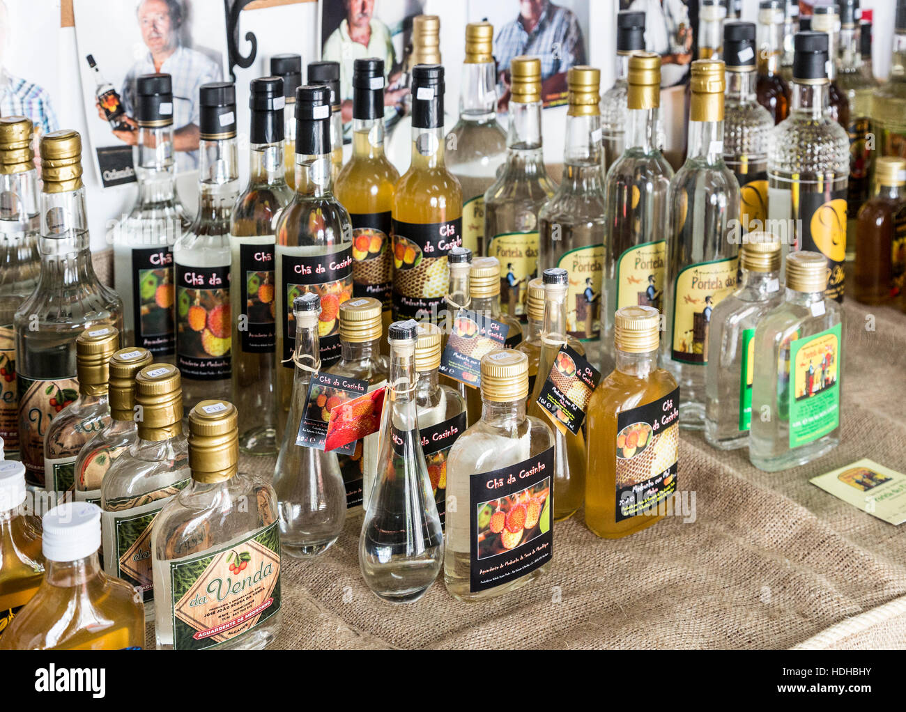 Locally made spirits and liqueurs, Monchique, Algarve, Portugal - Stock Image