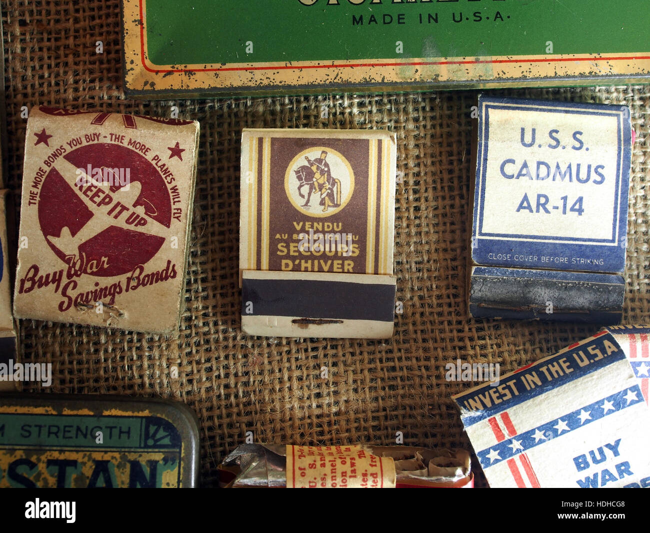 Matchboxes of WW2, Museum Winter 1944 in Gingelom pic2 - Stock Image