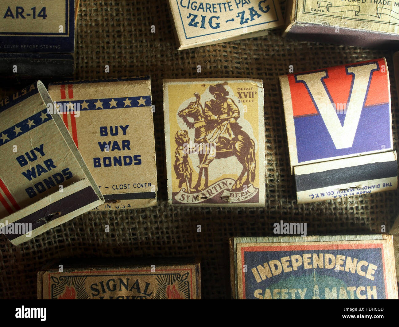 Matchboxes of WW2, Museum Winter 1944 in Gingelom - Stock Image