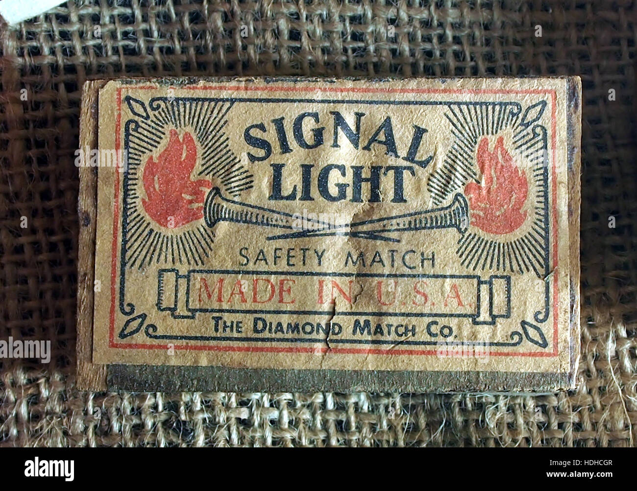 Signal Light matchbox of WW2, Museum Winter 1944 in Gingelom - Stock Image
