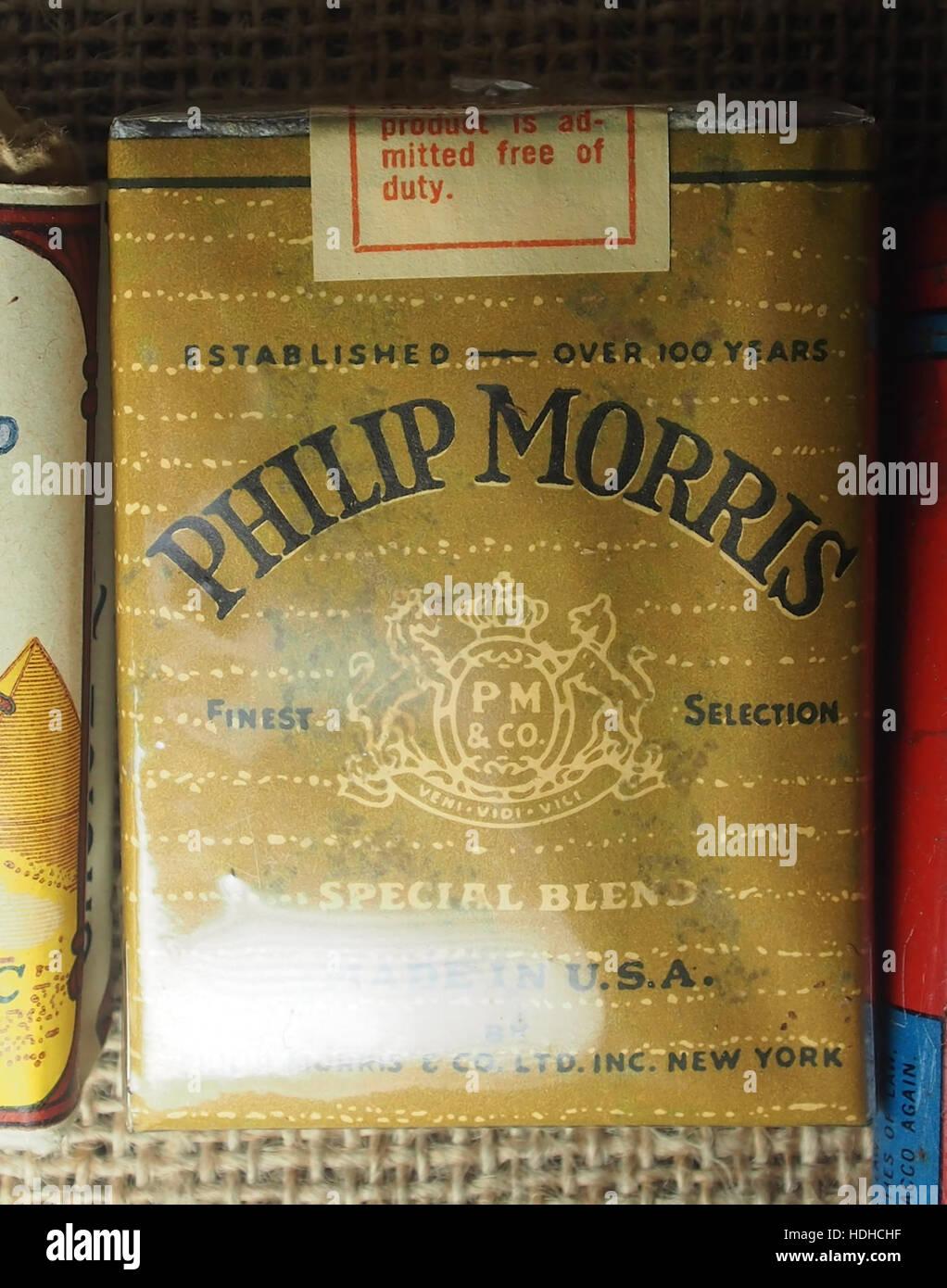 Philip Morris sicarette pack of WW2, Museum Winter 1944 in Gingelom - Stock Image