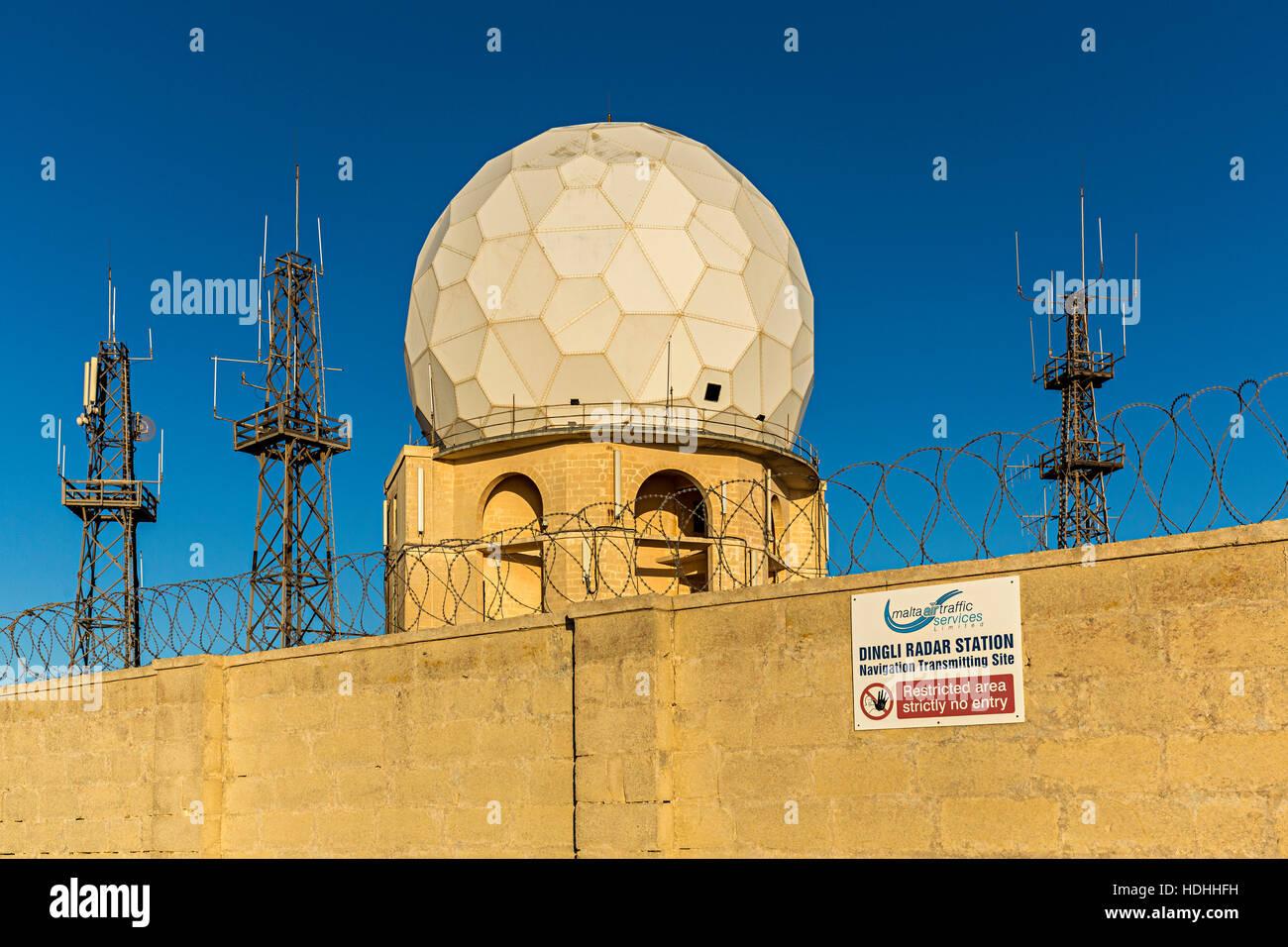 Dingli Radar Station for navigational tracking, Malta - Stock Image