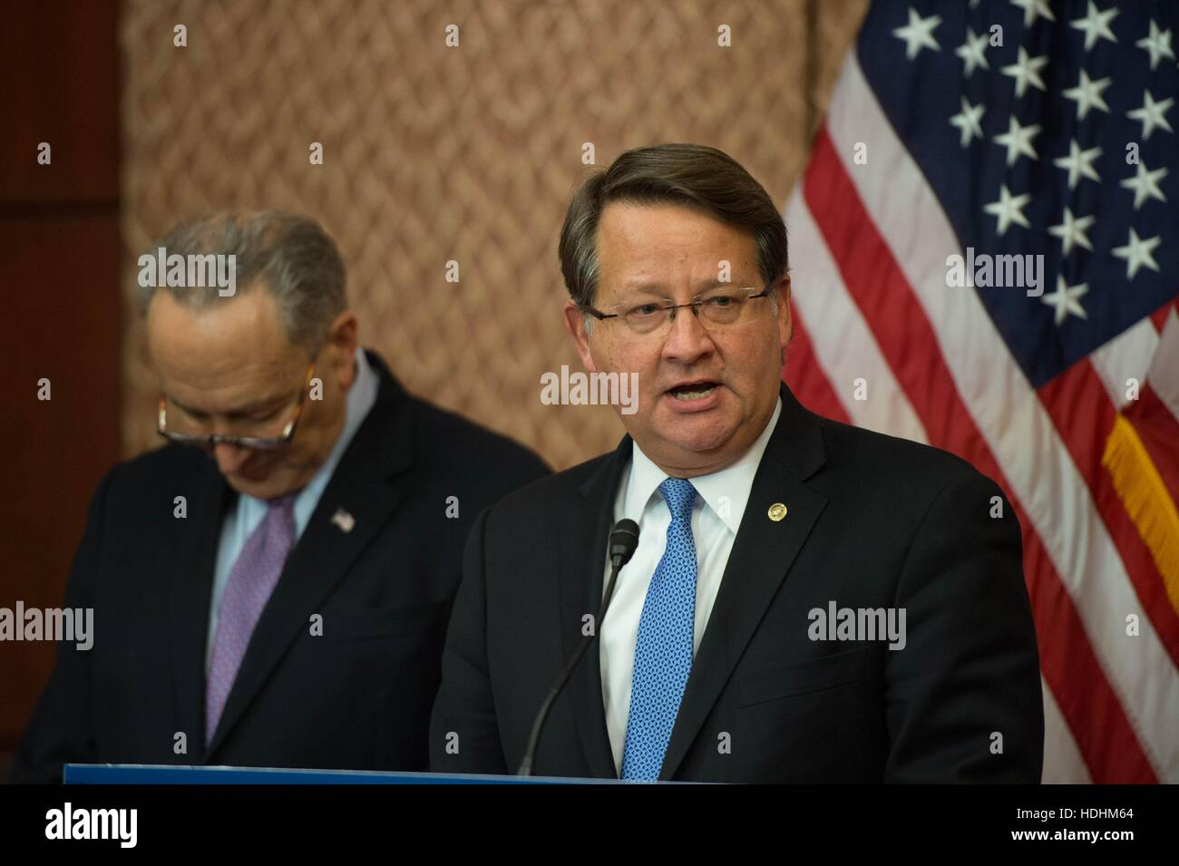 U.S Senator Gary Peters of Michigan joins fellow Democrats calling to stop outsourcing of jobs during a press conference - Stock Image