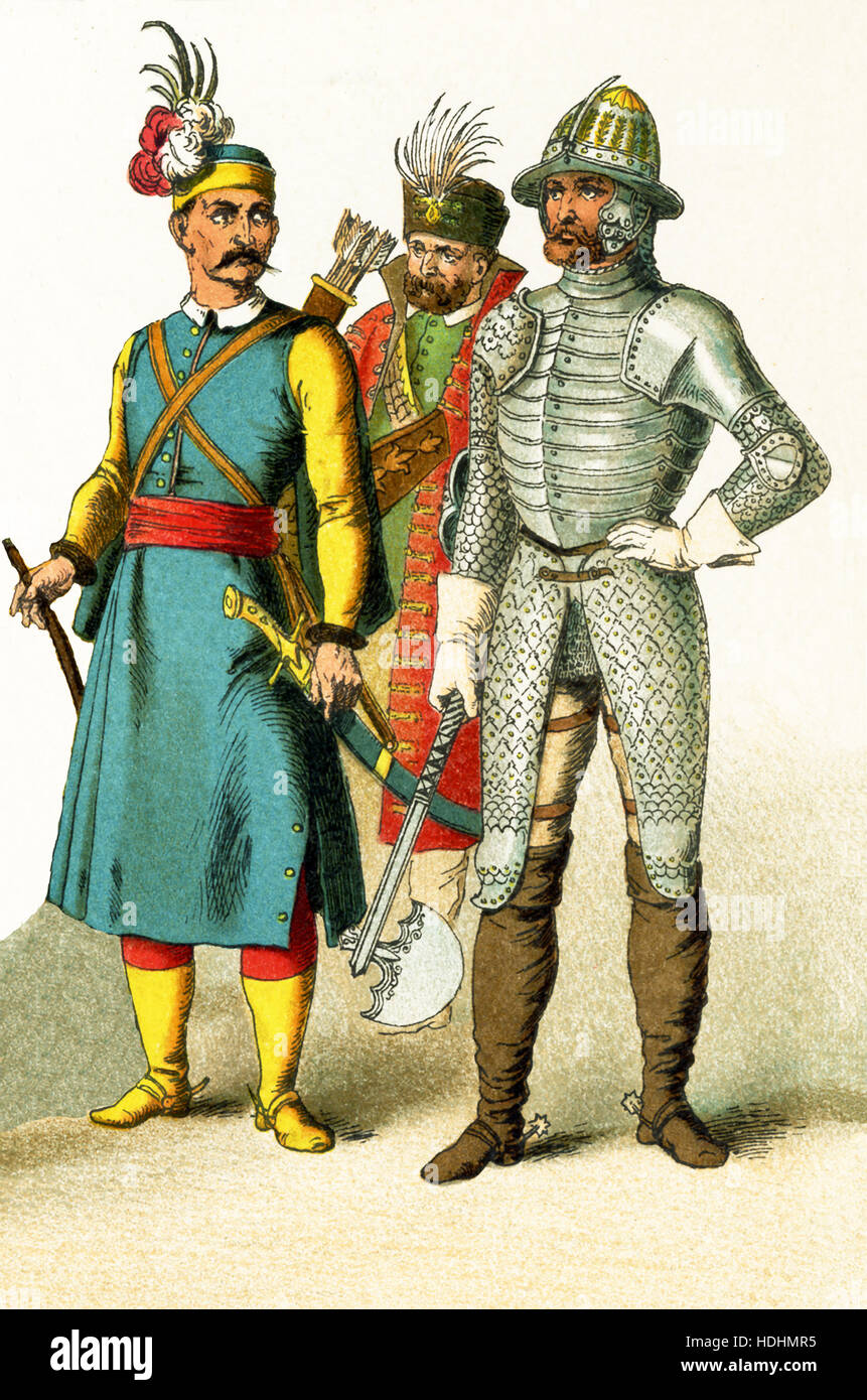 The figures pictured here are Hungarians in 1500. They represent, from left to right:  Hungarian warrior, Hungarian - Stock Image