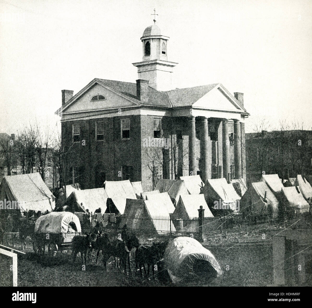 This is the only known photograph of the original courthouse on the Oxford Square in Oxford, Mississippi. It was - Stock Image