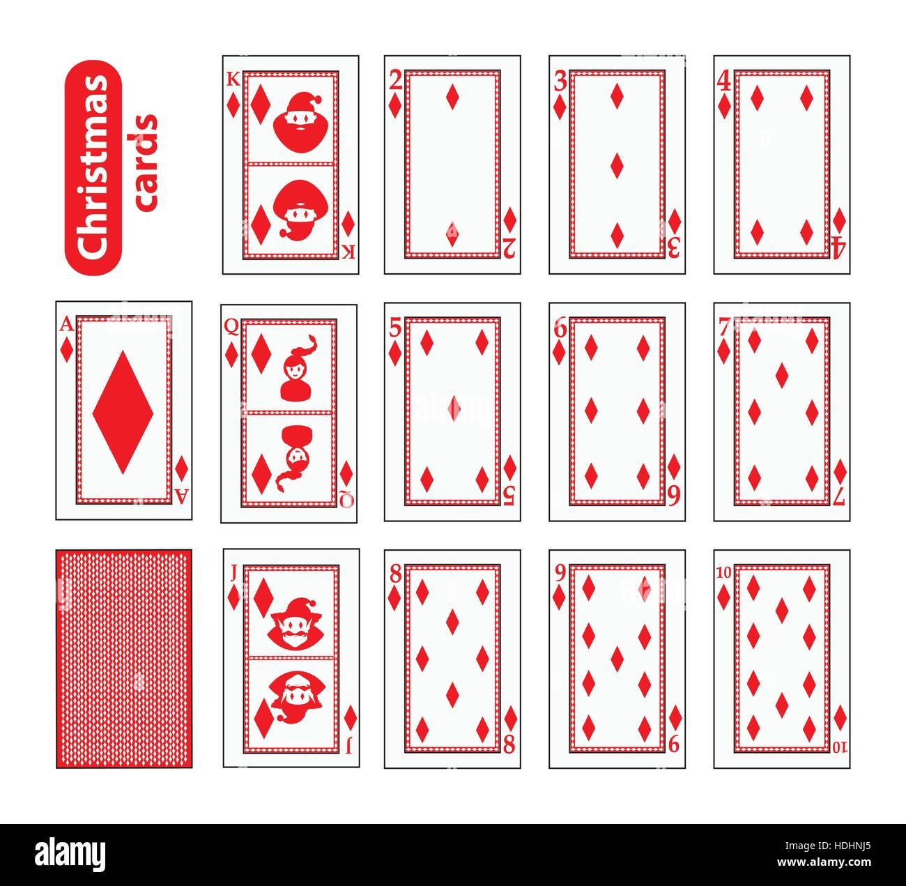 Cards Poker Set Christmas Icons Color Red Diamond Santa Claus