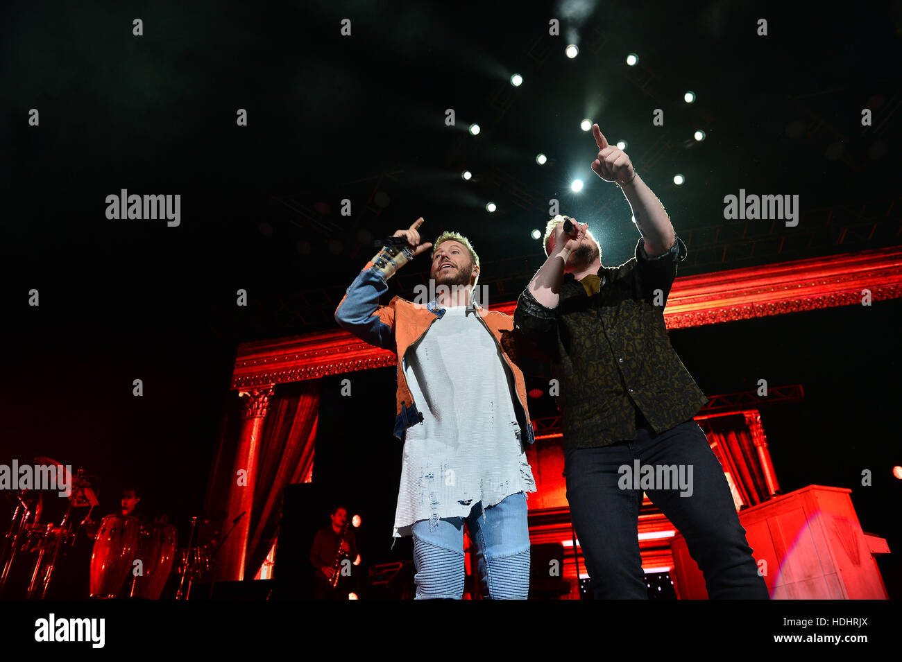 Noel Schajris and Leonel Garcia of Sin Bandera as the band play the ...