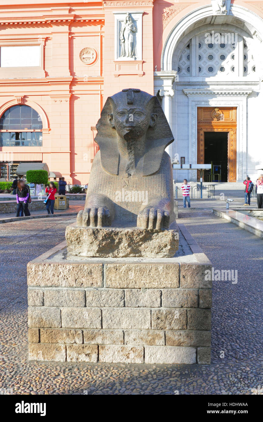 Cairo Museum of Egyptology and Antiquities. Exhibits in front of the museum. - Stock Image