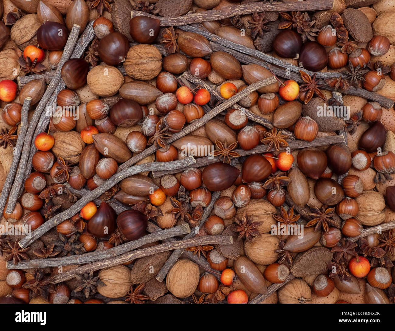 Festive natural background with a mix of chestnuts, almonds, brazil nuts, pecans, hazelnuts, star anise, liquorice - Stock Image