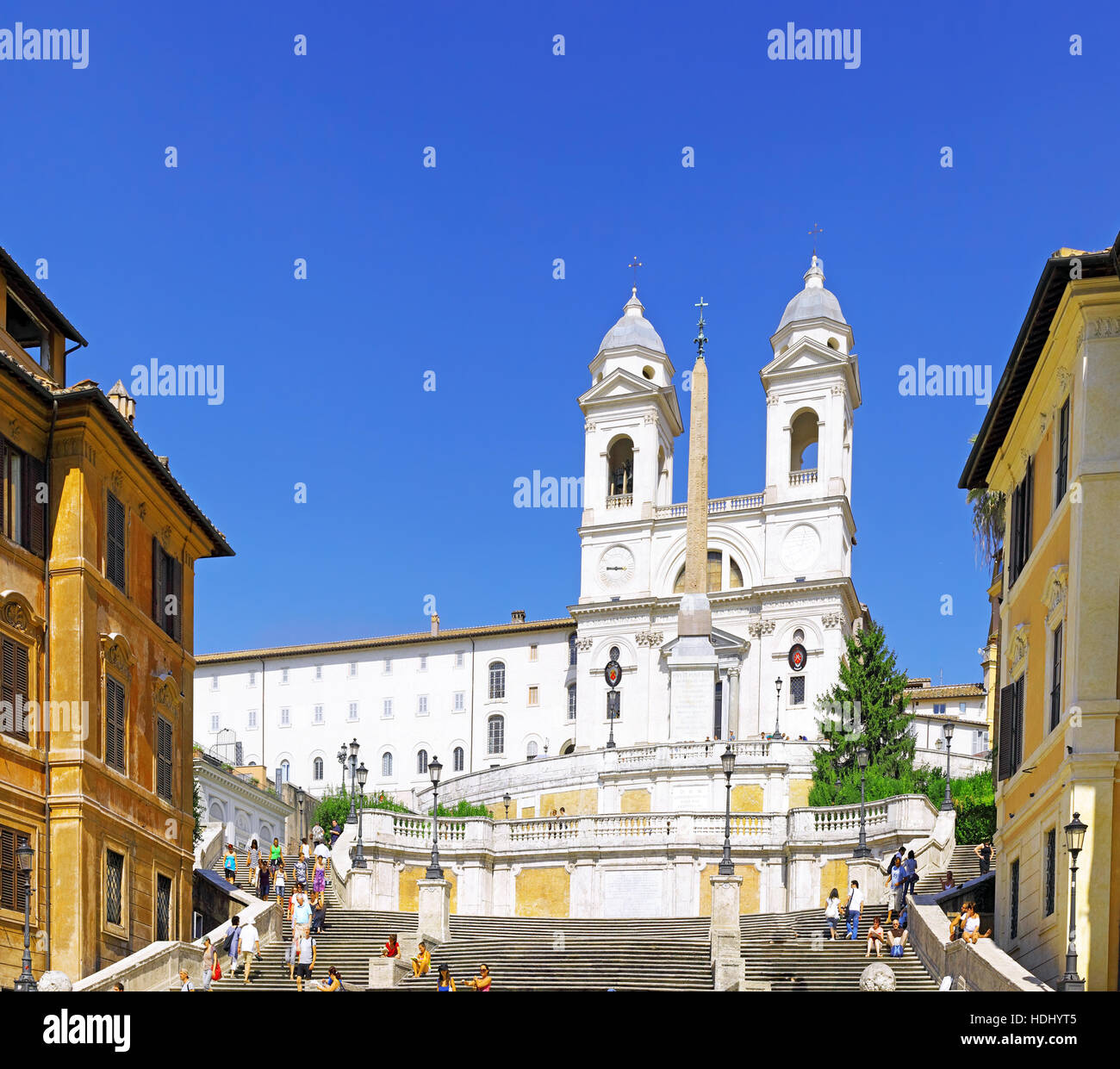 Spain's Square and Church of the Holy Trinity in Rome while on vacation in Rome, Italy Stock Photo