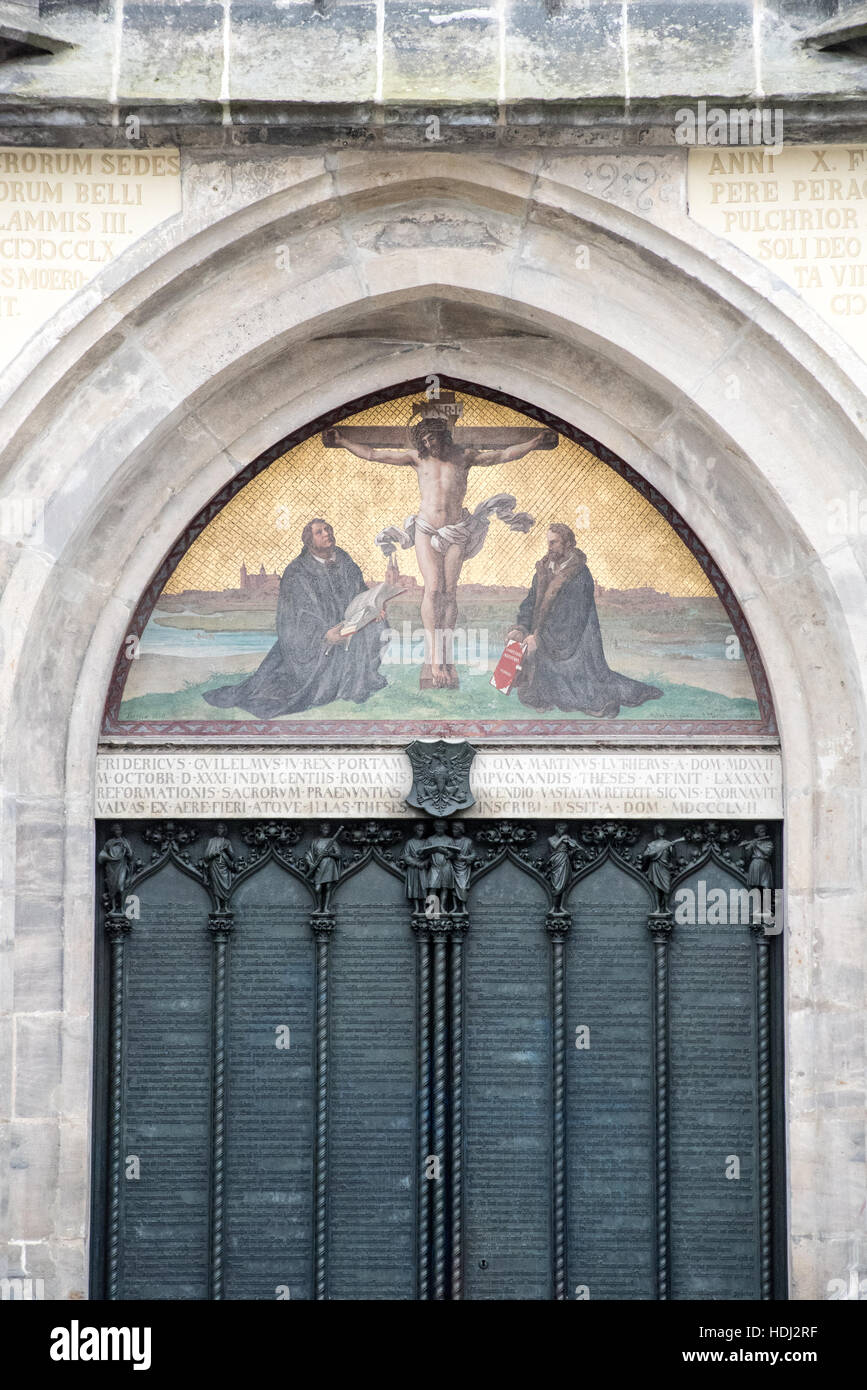 Door of Wittenberg Castle church where Martin Luther nailed his 95 theses & Door of Wittenberg Castle church where Martin Luther nailed his 95 ...