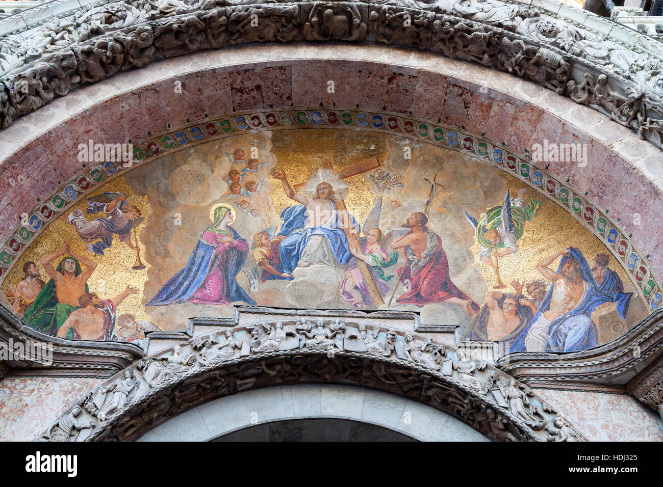 Mosaic in tympanum above the main central portal at San Marco Stock ...