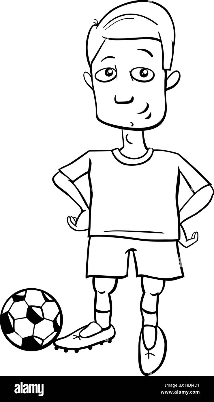 Black and White Cartoon Illustrations of Football or Soccer Player with Ball - Stock Vector