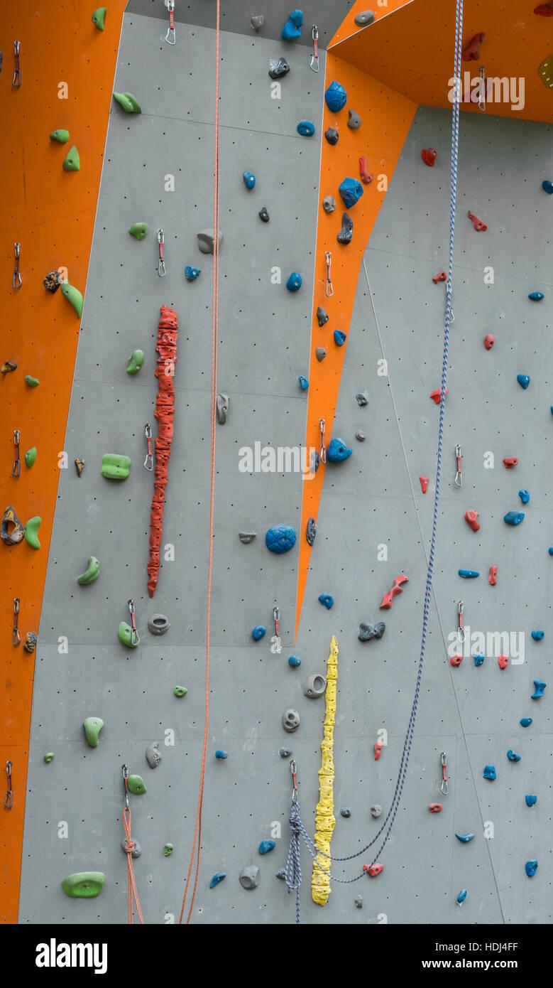 Closeup of a climbing wall - Stock Image