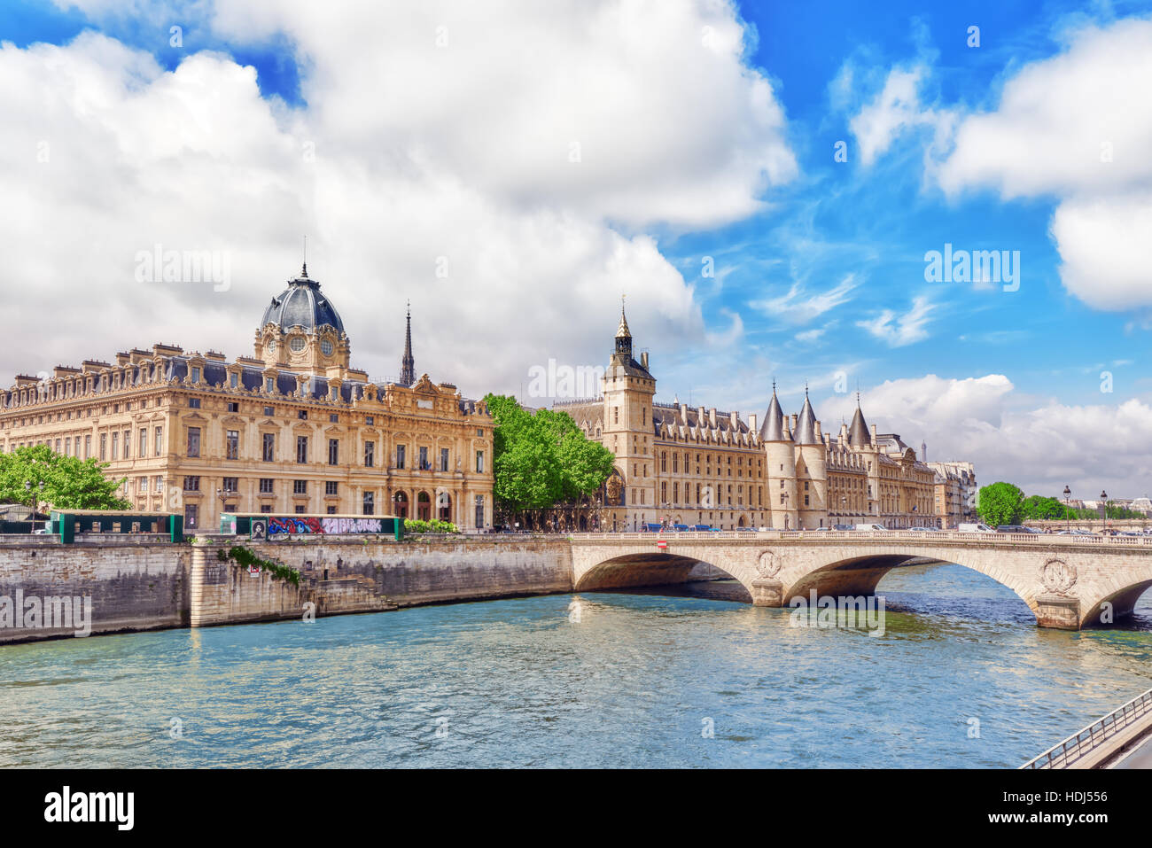 PARIS, FRANCE- JULY 04, 2016 : River Seine, Registry of the Paris Commercial Court and Bridge of Changed in Paris. - Stock Image