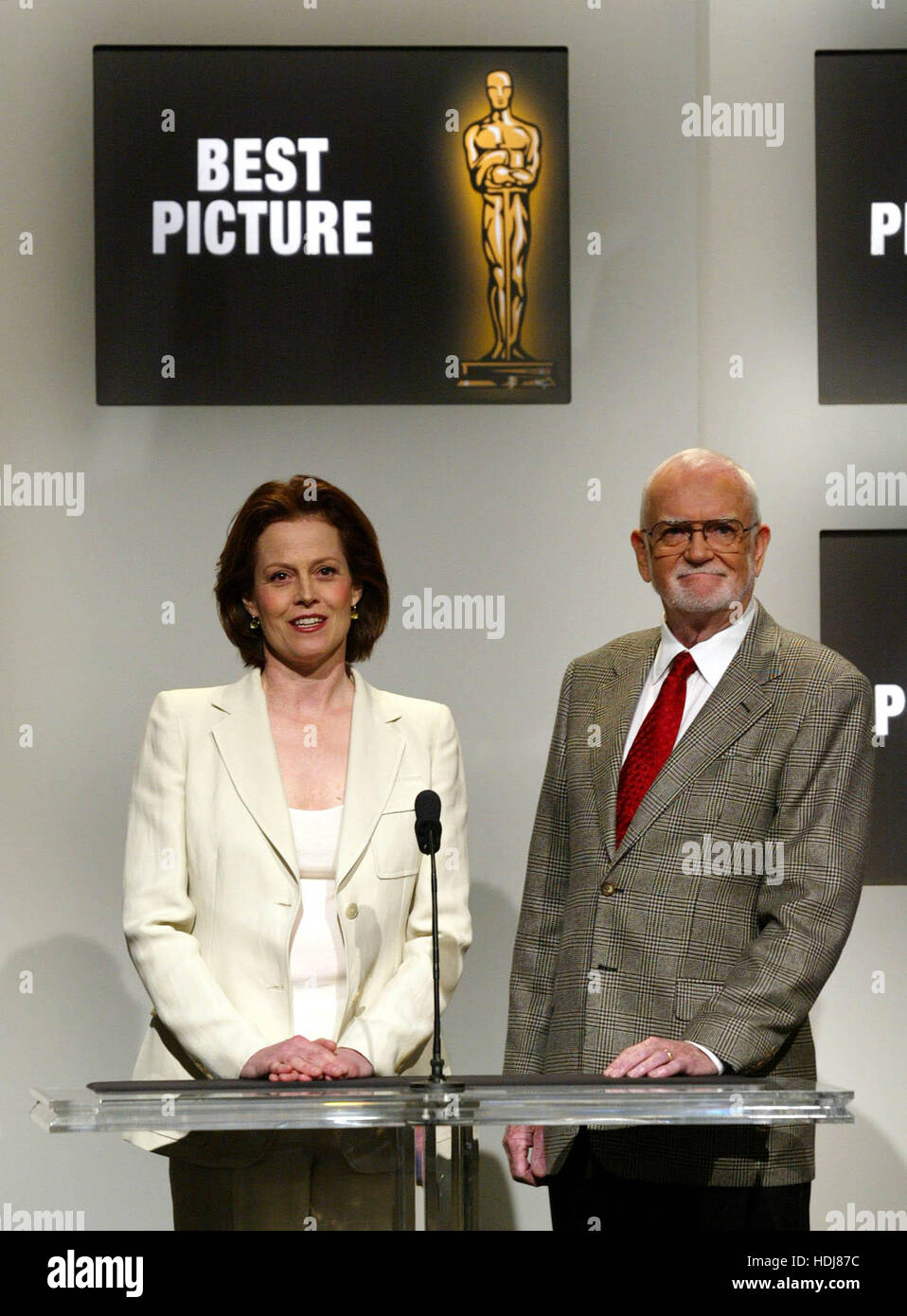 Actress Sigourney Weaver and Frank Pierson, president of the Academy of Motion Picture Arts and Sciences announce - Stock Image
