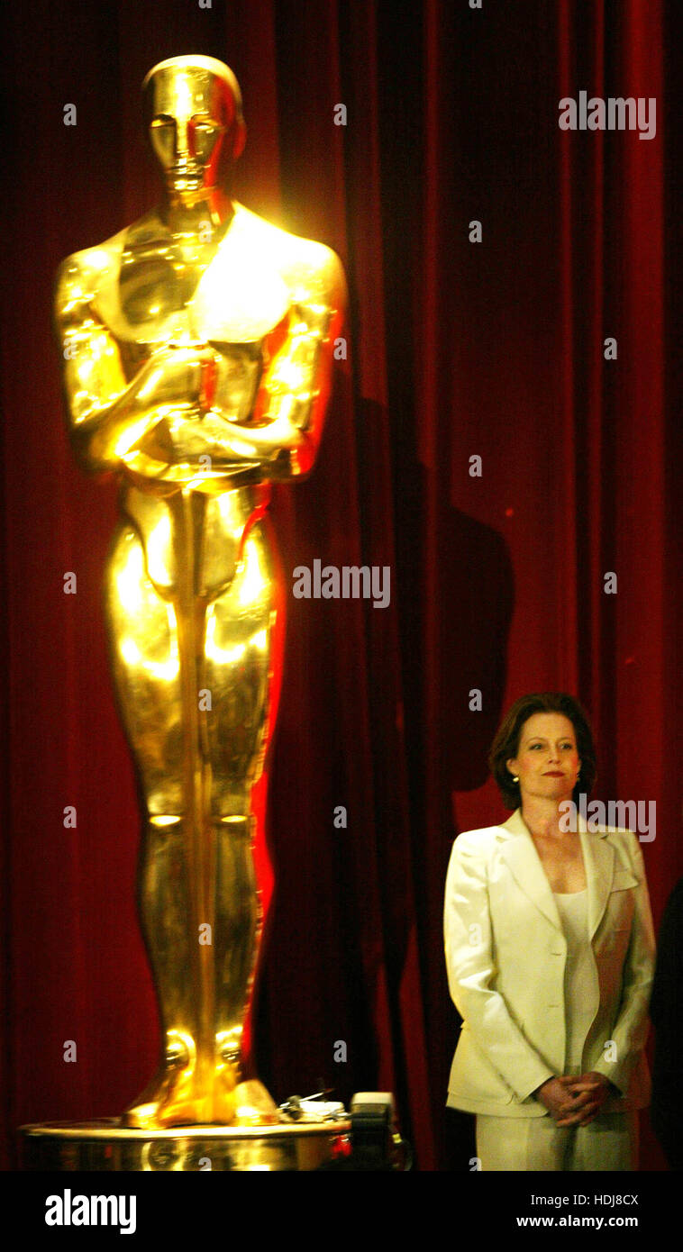 Actress Sigourney Weaver stands by a large replica of the Academy Award before announcing  the nominations for the - Stock Image