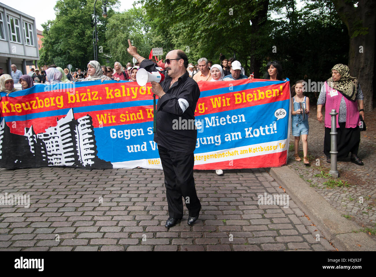 Demonstration against rising rents by Kotti & Co., a community of tenants at Kottbusser Tor. Berlin, Germany. - Stock Image