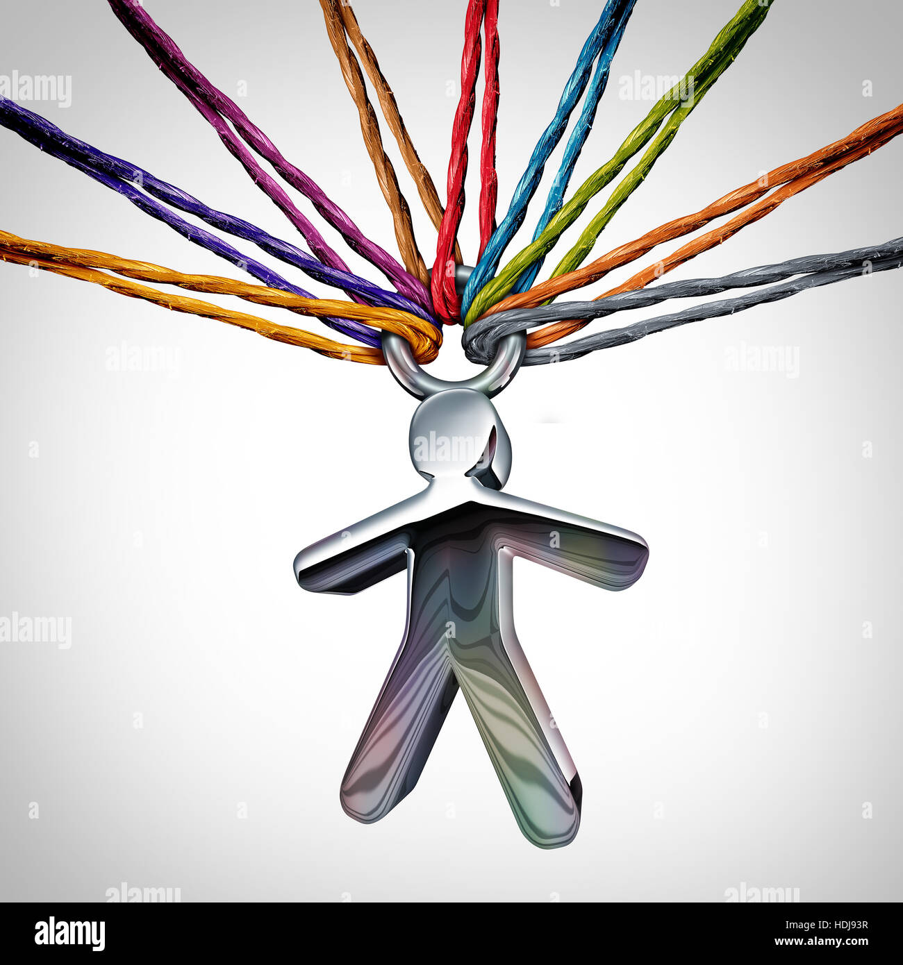 Community care concept as a person icon supported and held by a diverse group of ropes as a humanity and faith metaphor - Stock Image