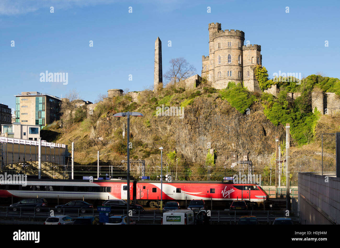 The Governor's House and Martyrs Monument, above Waverley train station, Edinburgh. Stock Photo