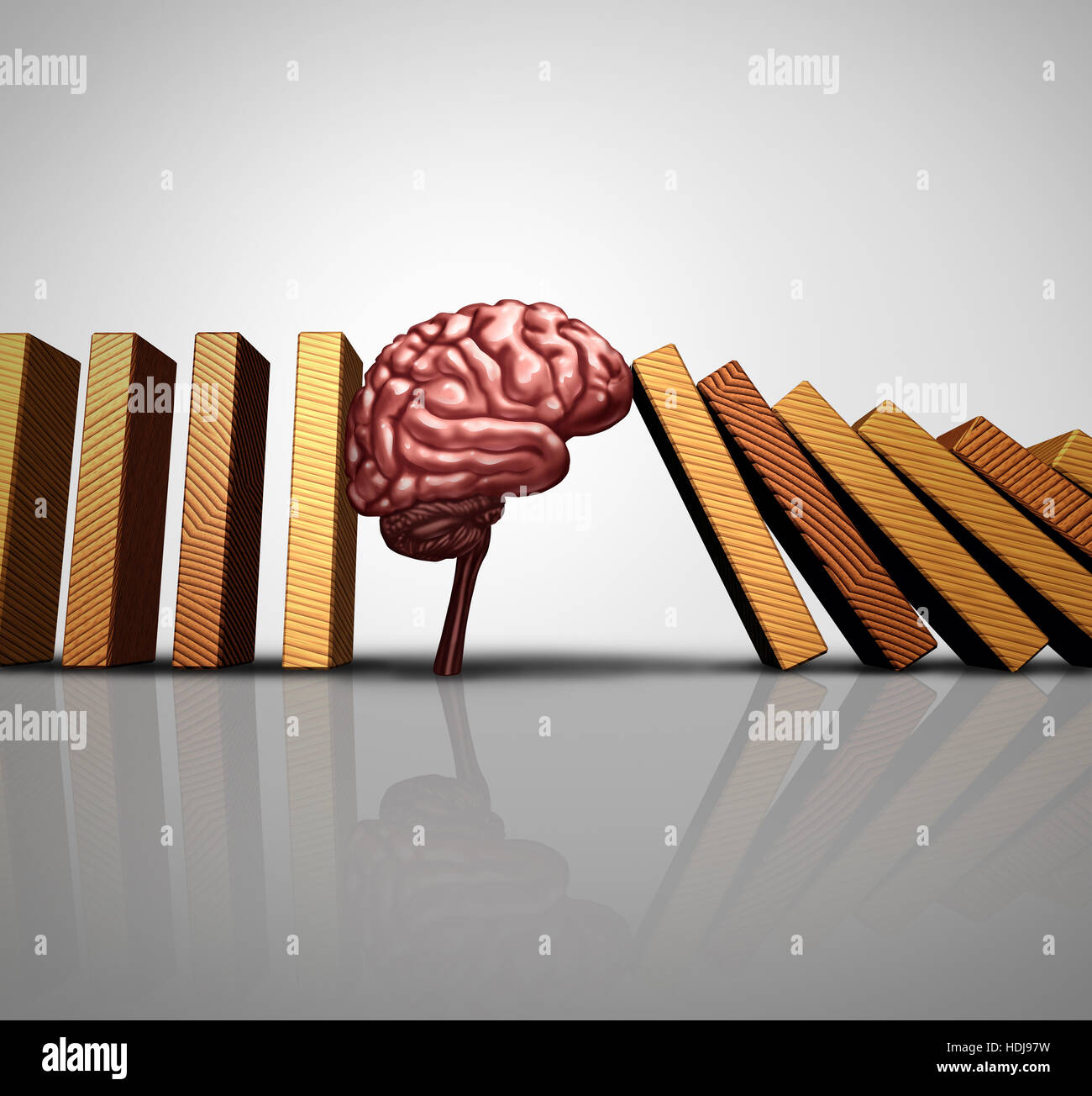 Thinking solution concept and creative innovation idea as a human brain stopping the fall of domino pieces as a - Stock Image