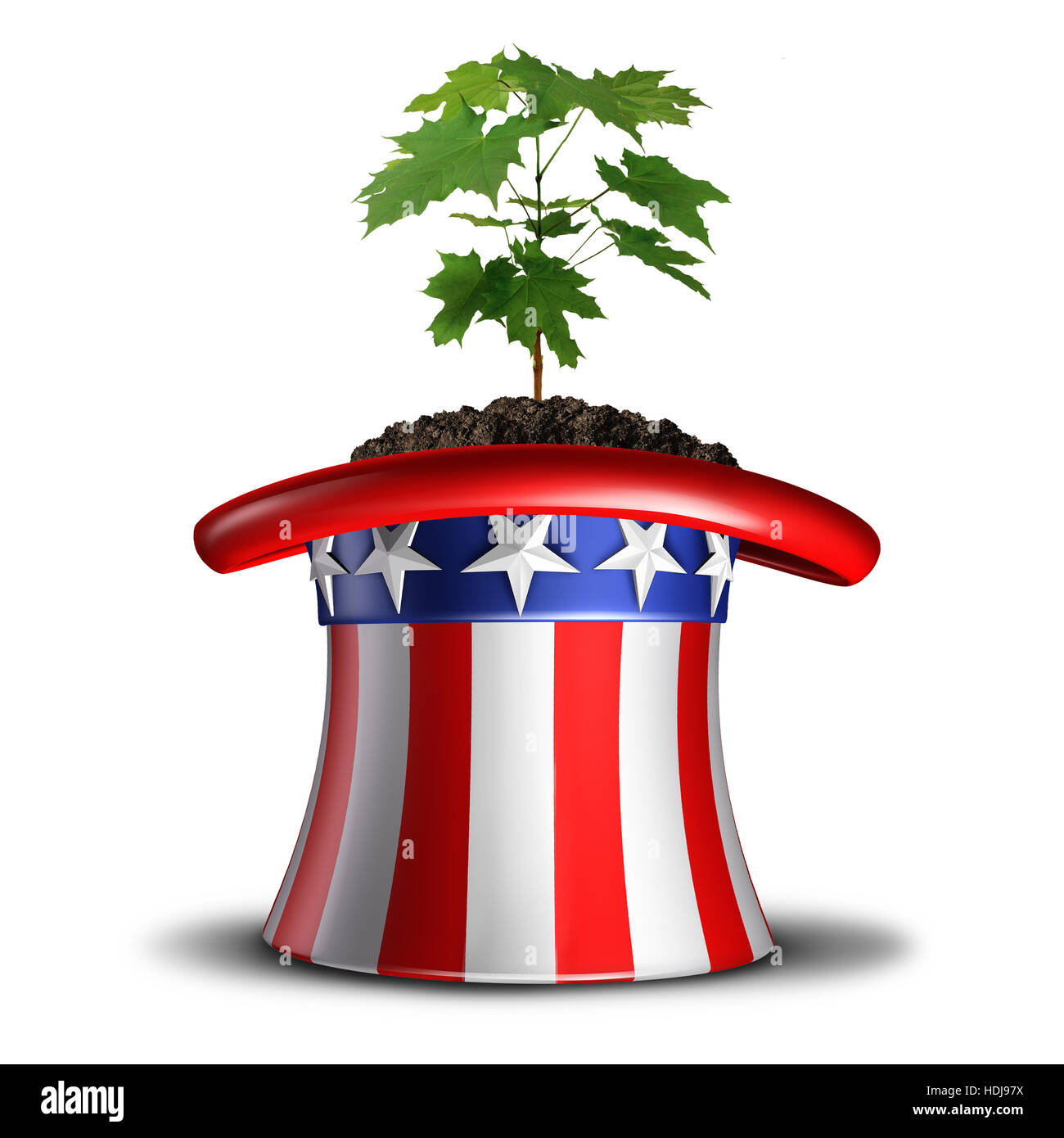 Concept of American growth and invest in the USA idea or social security in america symbol as a tree sapling growing - Stock Image