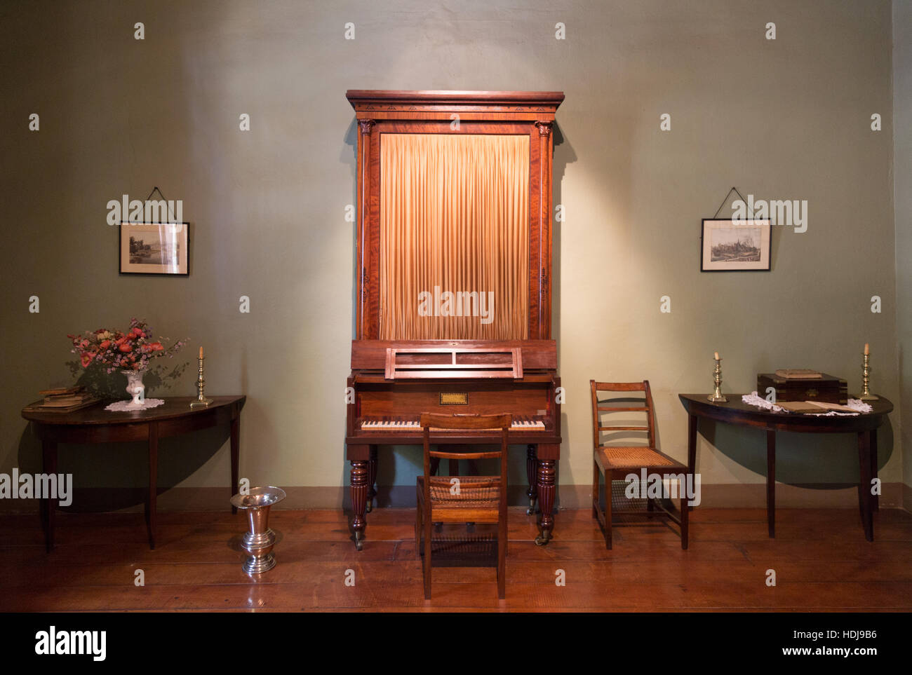 A rare upright grand piano, The Village Museum, Stellenbosch, South Africa - Stock Image