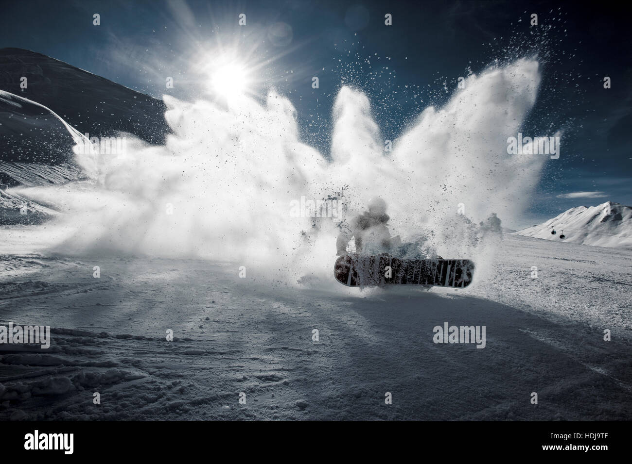 Snowboarding off-piste - Stock Image