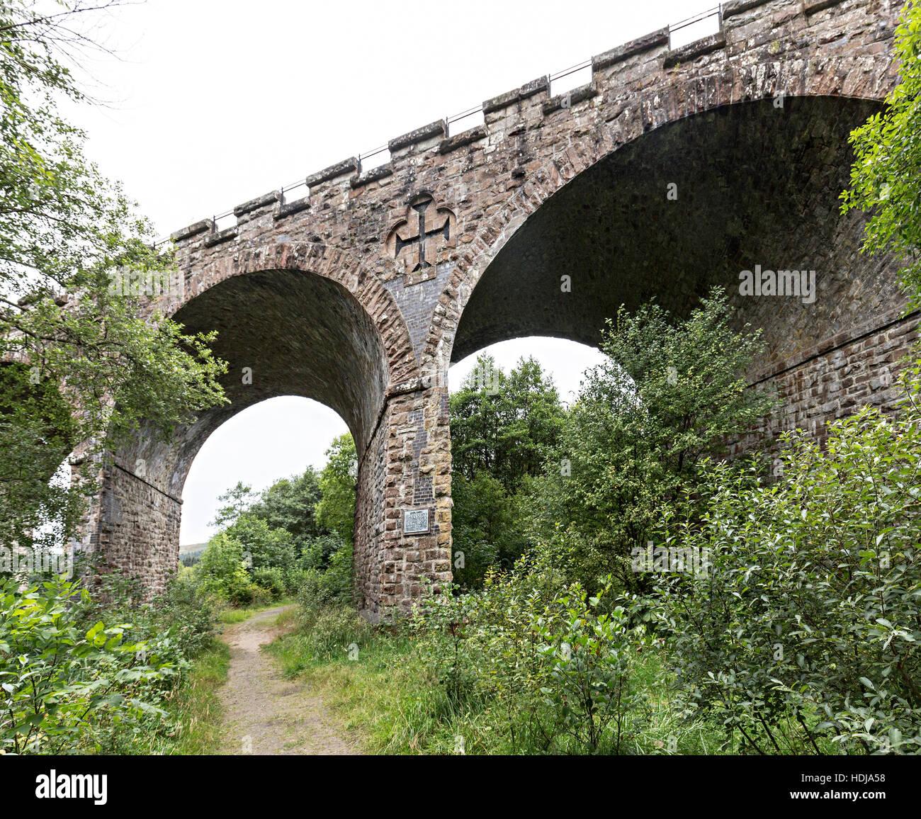 Kielder Railway Viaduct built in 1862 as a seven skew arch brudge, Northumberland, England, UK - Stock Image