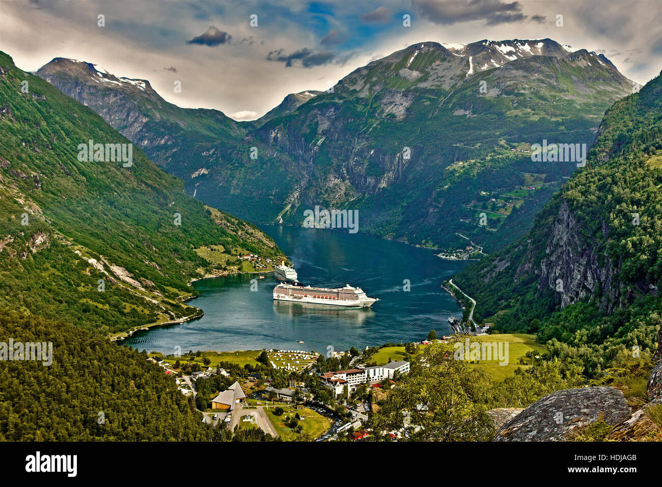 Ships Moored In Geiranger Fjord Norway - Stock Image