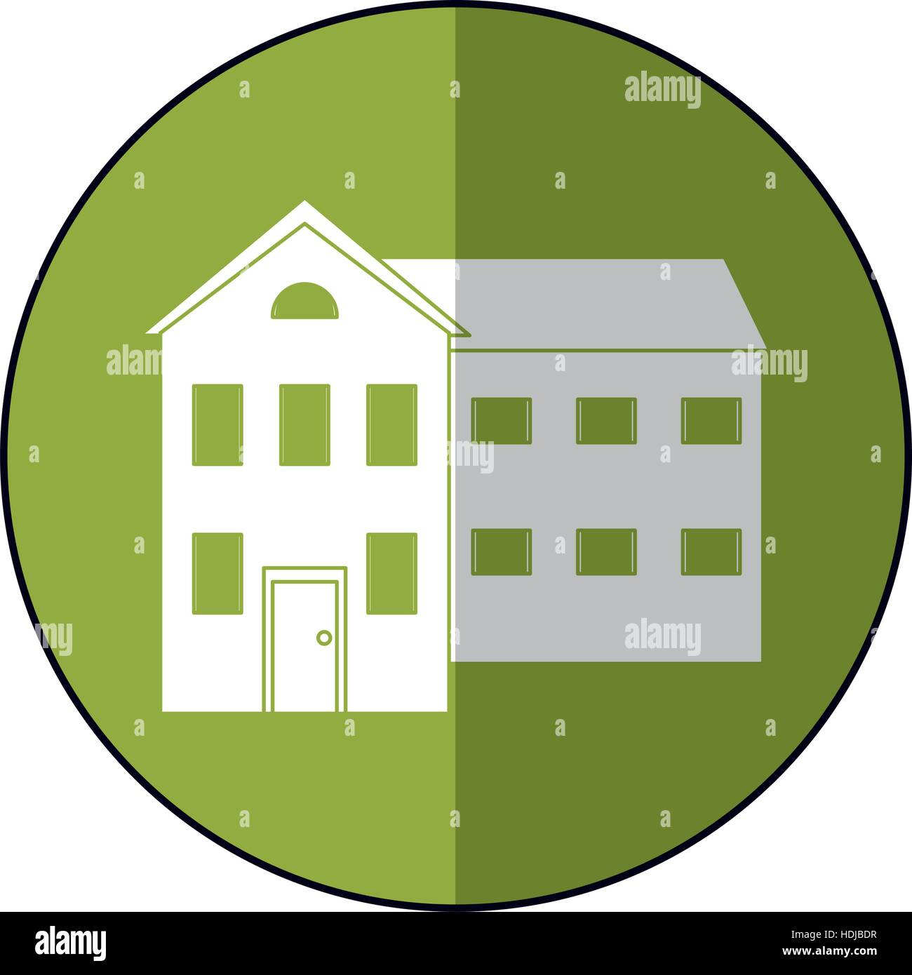 big house and many windows circle - Stock Vector