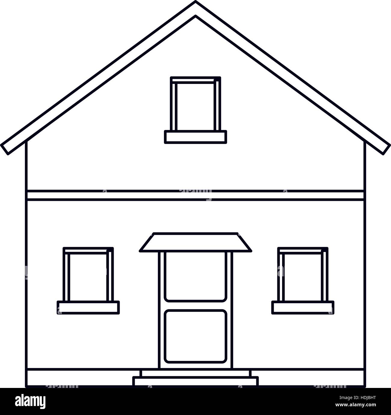Outline Front View House Home