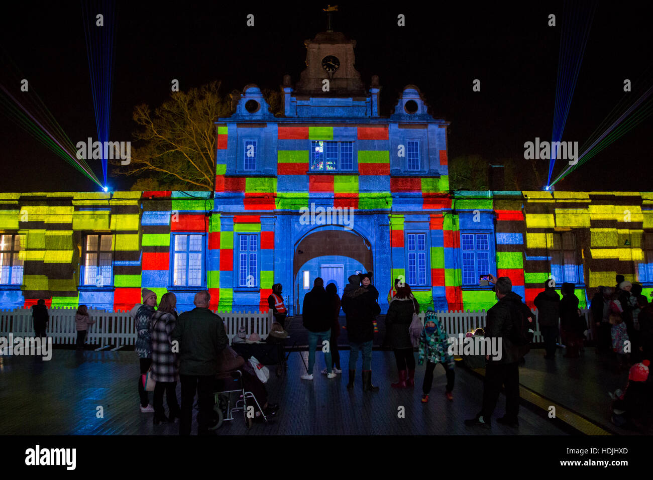 Longleat Festival of Light - Singing Christmas tree light show Stock Photo