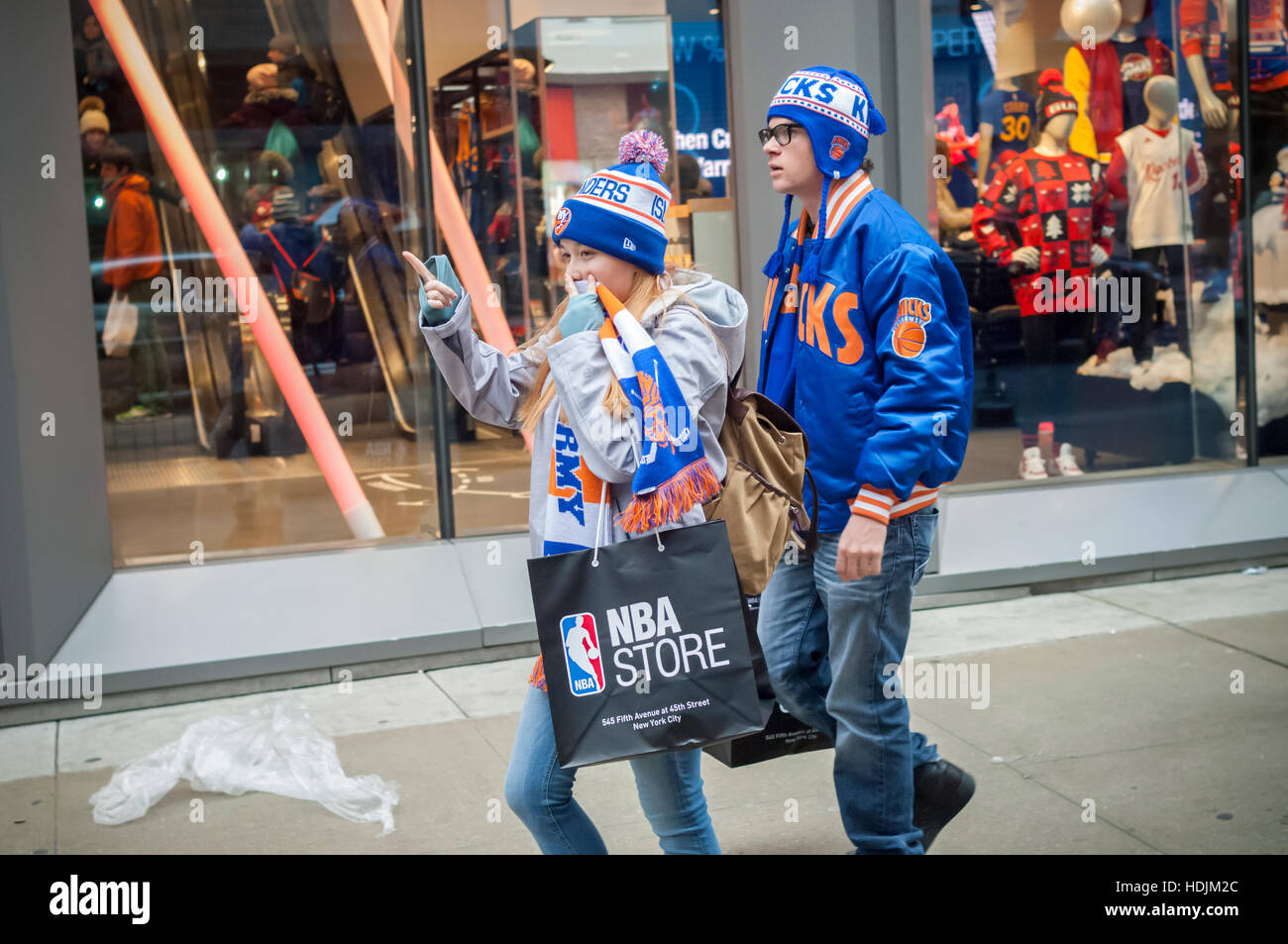 e1044715f Basketball fans leave the NBA store on Fifth Avenue in Midtown Manhattan in  New York on Sunday
