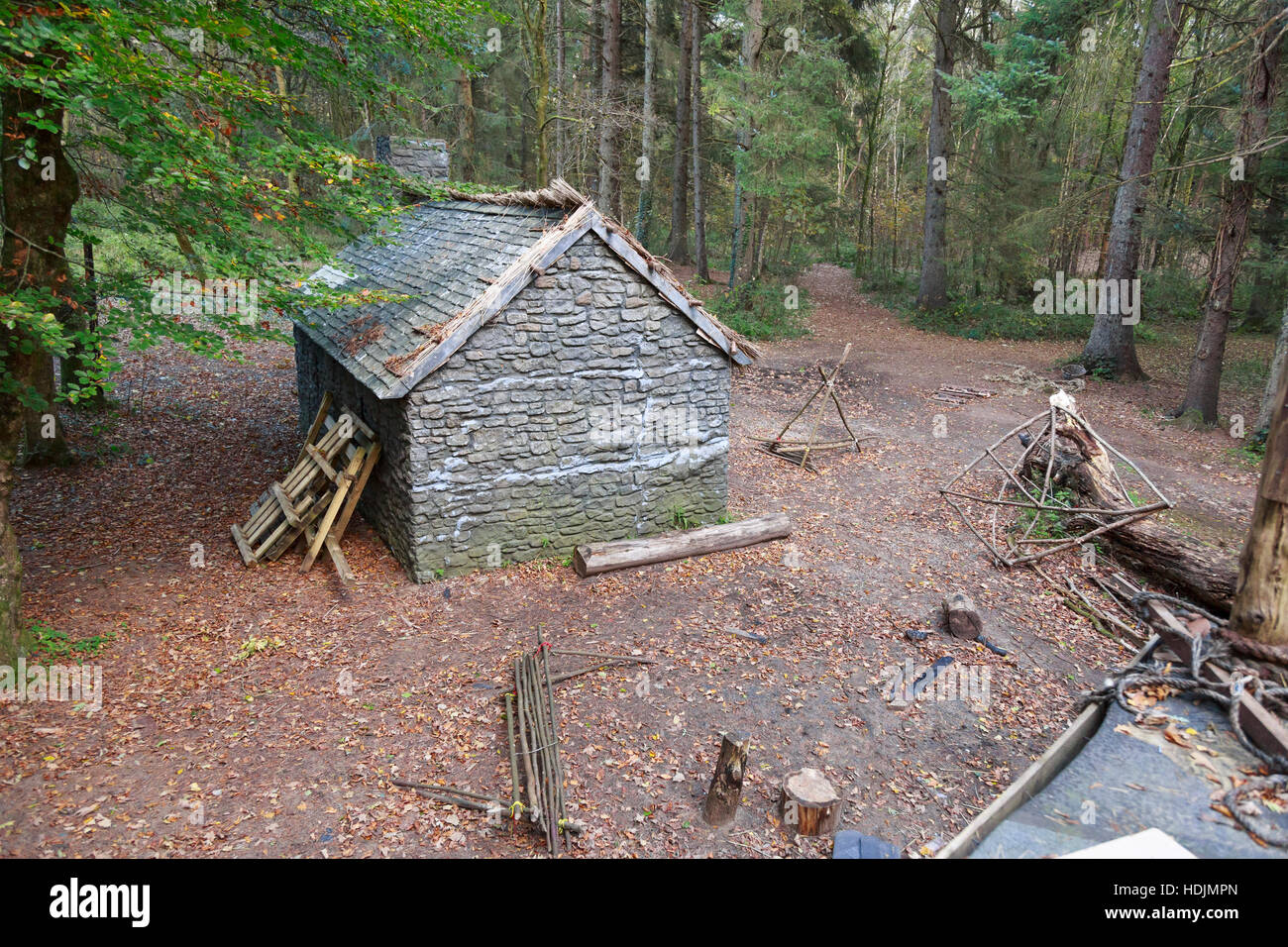 woodland film set with cottage and props - Stock Image