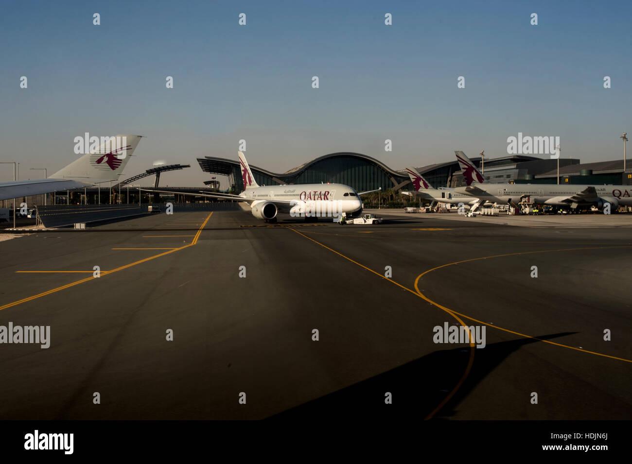 Airside at Doha airport Stock Photo