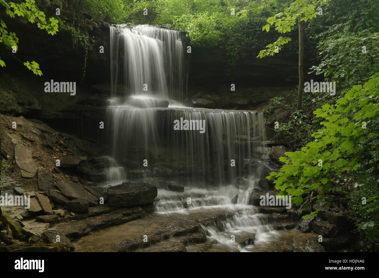 Summer  Waterfall. West Milton Cascades, West Milton, Dayton, Ohio, USA. Stock Photo