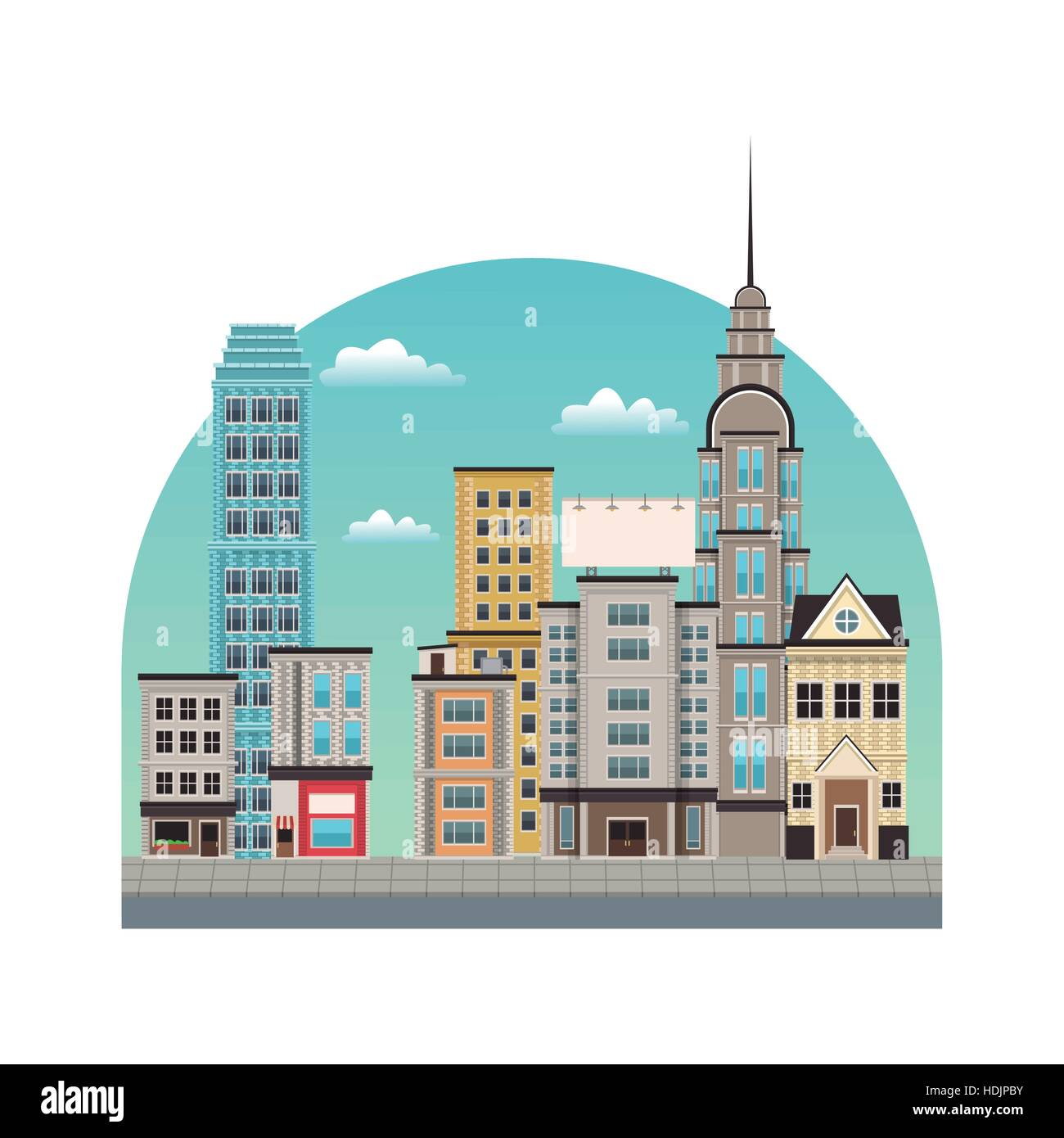 city downtown buildings style - Stock Image