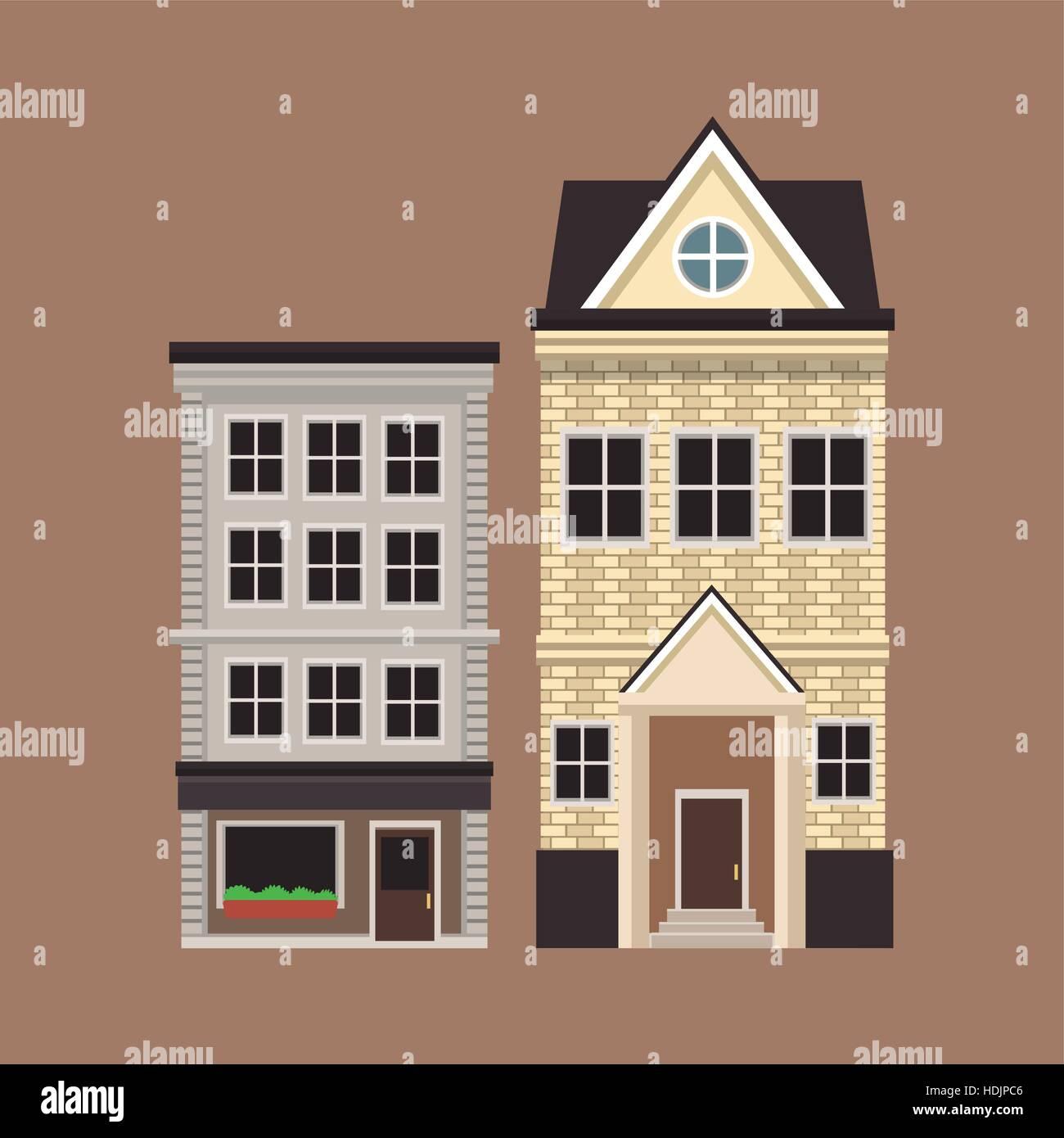 old buildinf style european facade - Stock Vector