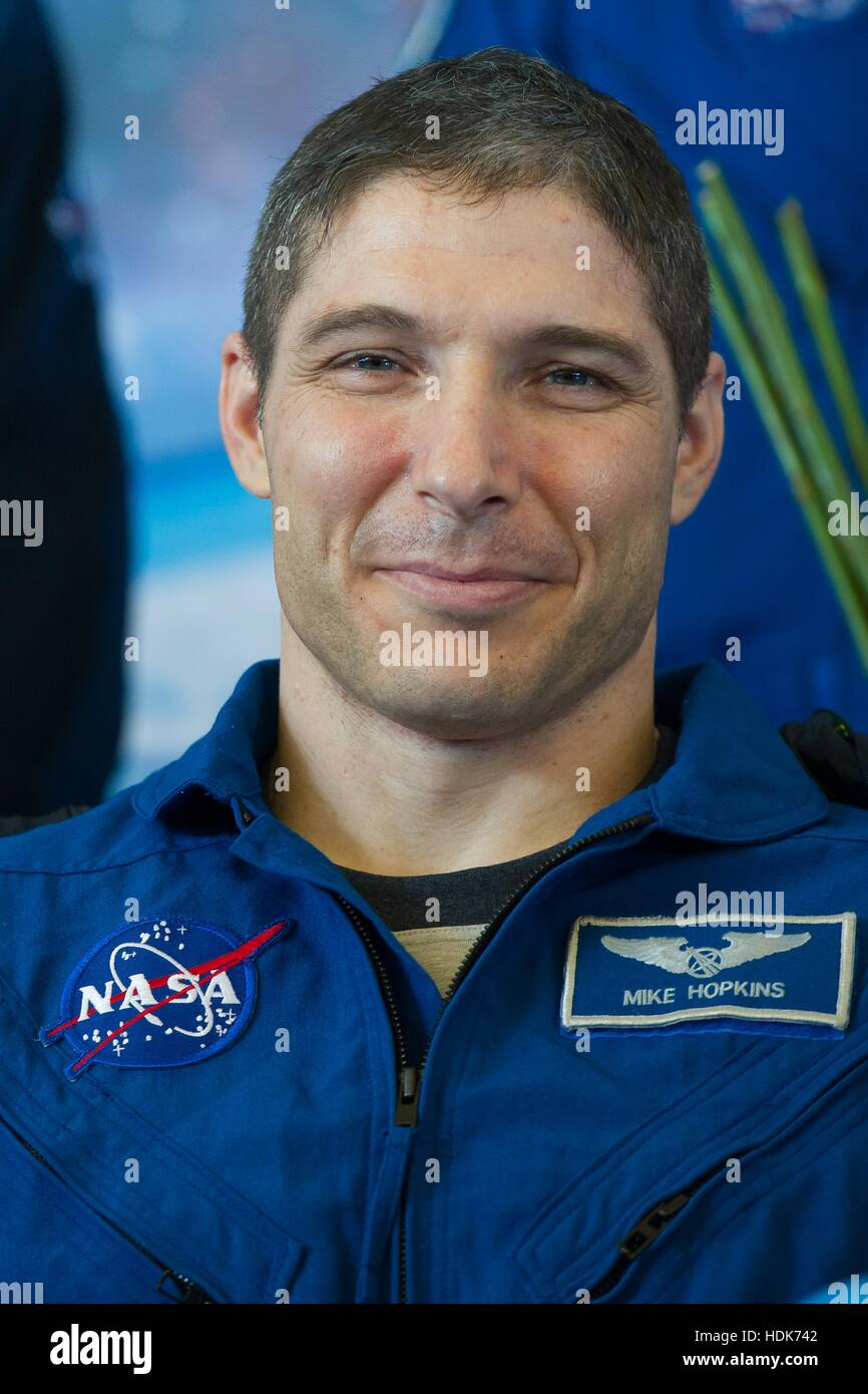 NASA International Space Station Expedition 38 mission astronaut Mike Hopkins attends a welcoming ceremony at the - Stock Image