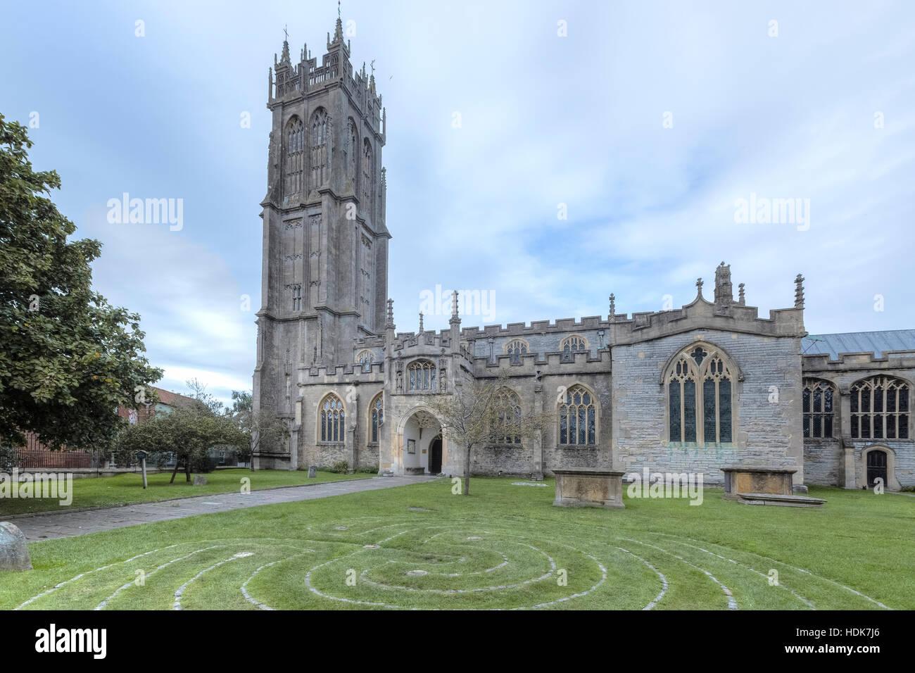 Glastonbury, St John's church, Somerset, England, UK - Stock Image