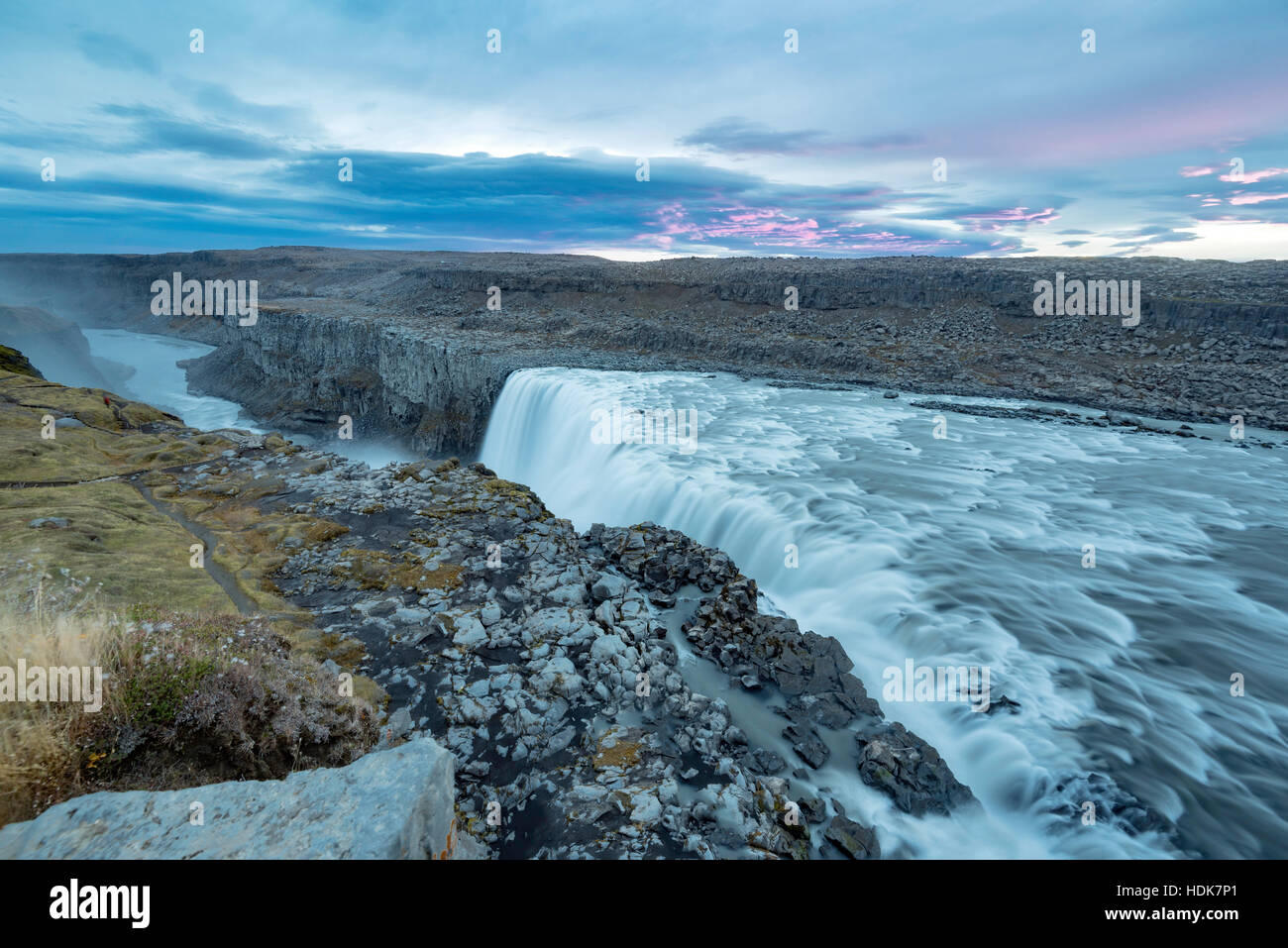 Dettifoss. Situated in Vatnajokull N.P. in Northeast Iceland, it's the most powerful waterfall in Europe. Photo - Stock Image