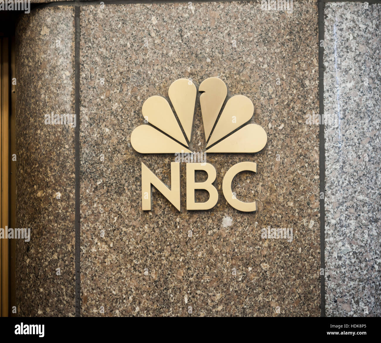 The NBC logo is seen in Rockefeller Center in New York on Friday, December 9, 2016. President-elect Donald Trump - Stock Image