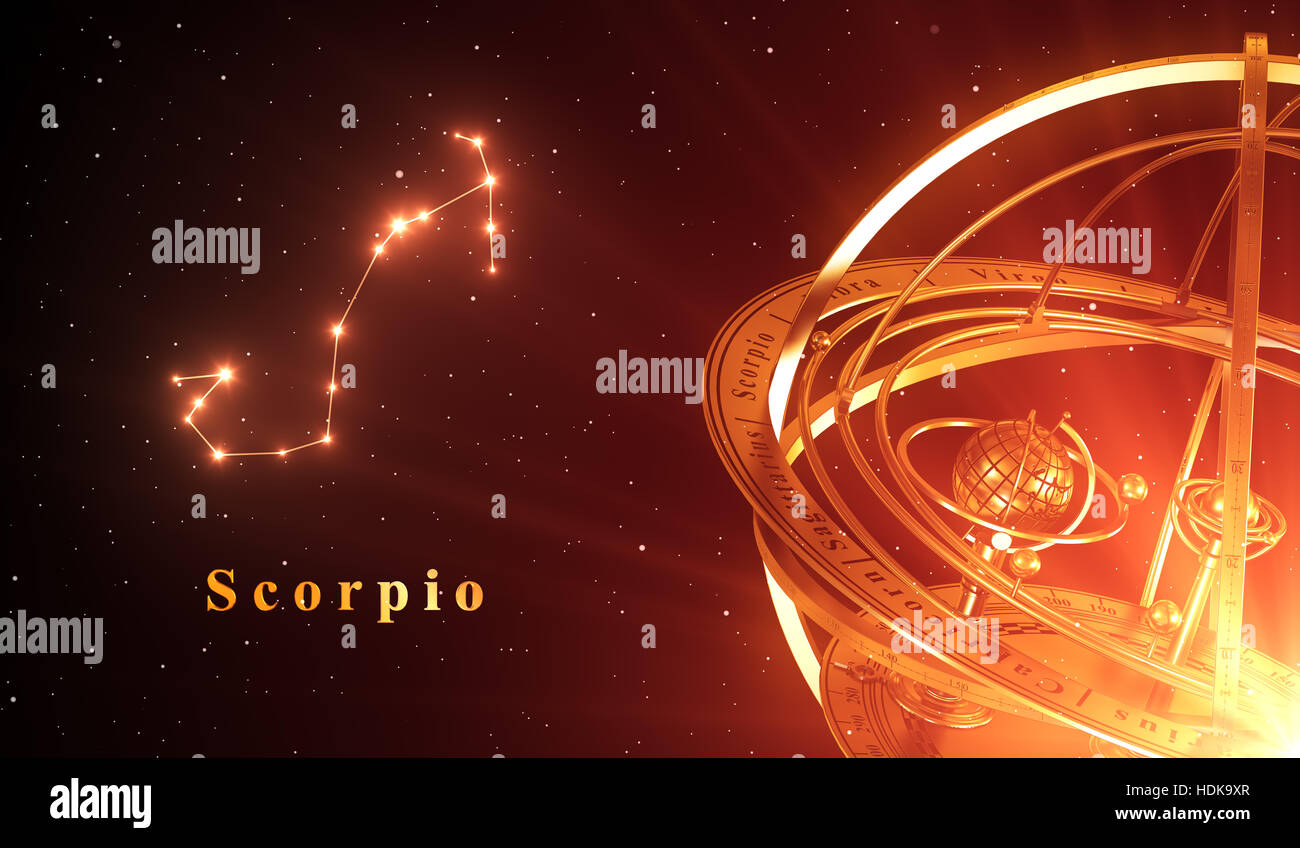 Zodiac Constellation Scorpio And Armillary Sphere Over Red Background 3D Illustration