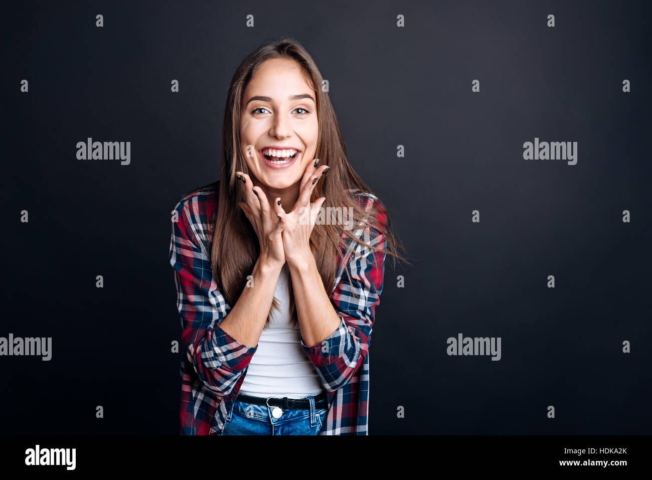 Positive woman expressing gladness - Stock Image