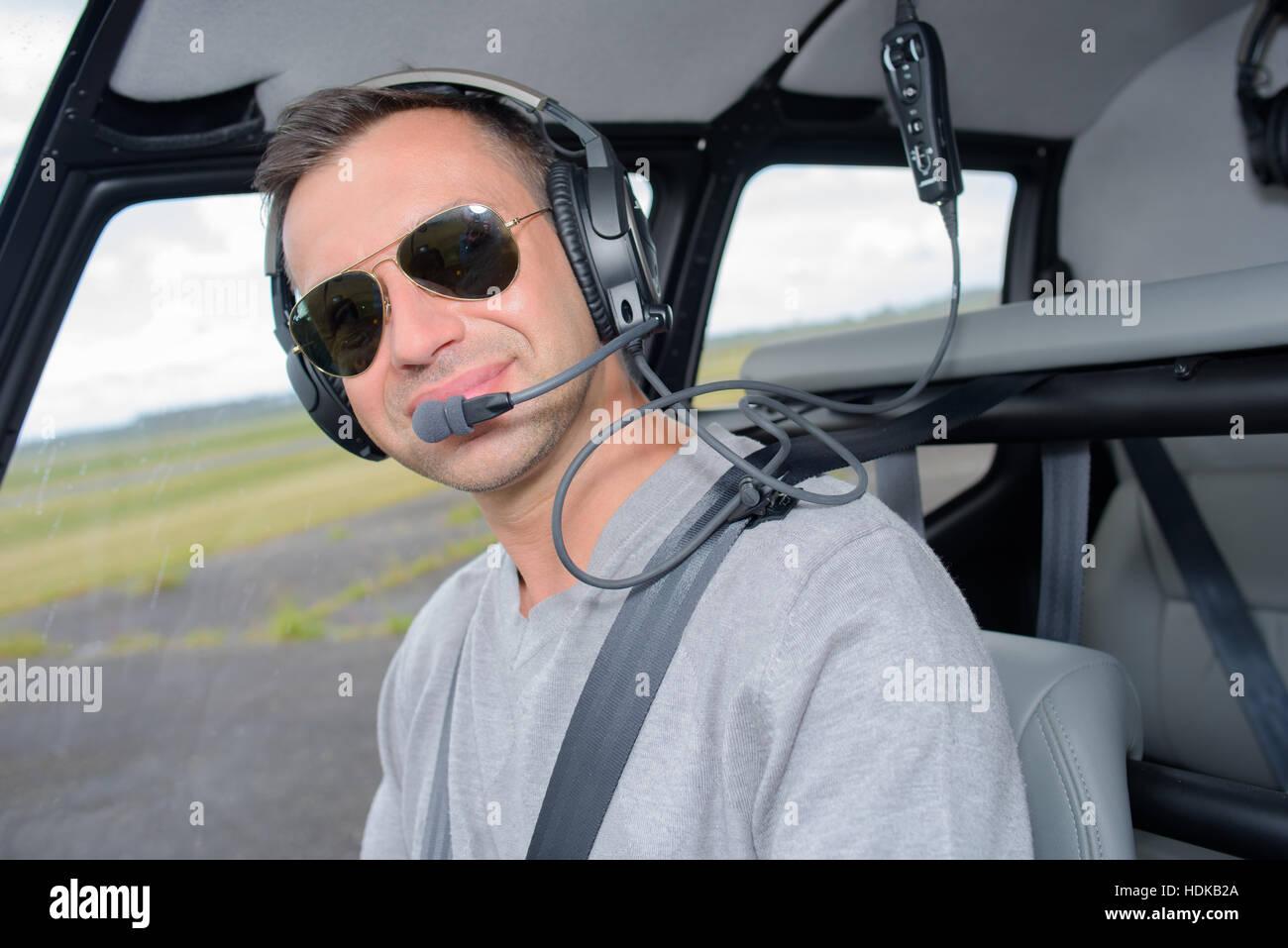eb510af2b9 Portrait of pilot wearing sunglasses Stock Photo  128888882 - Alamy