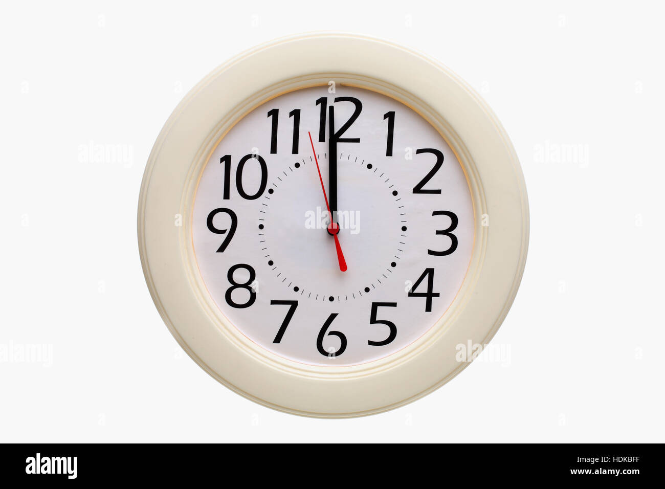 Analog wall clock 12:00 o'clock - Stock Image