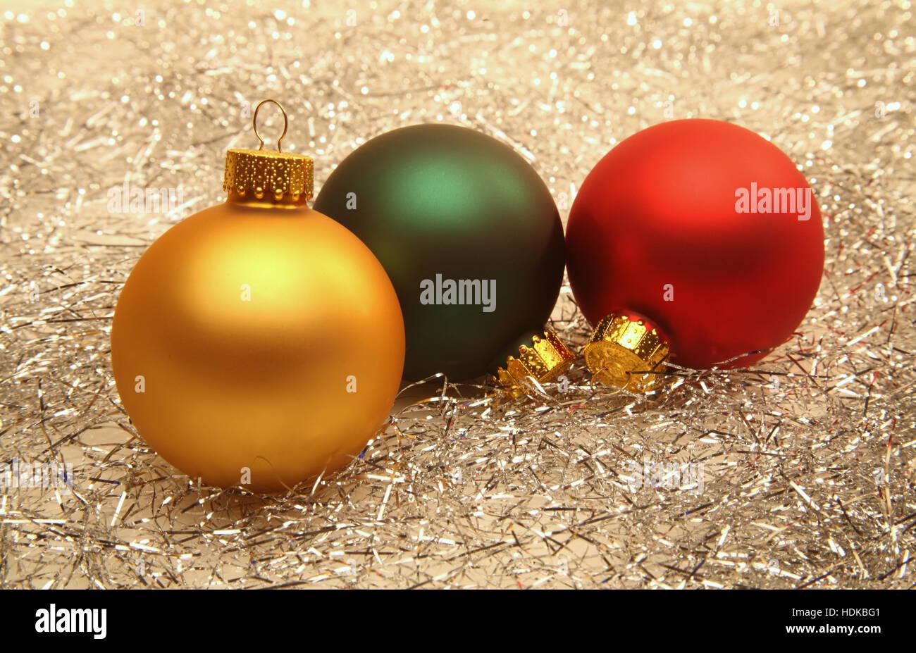 Christmas ornaments and tinsel - Stock Image