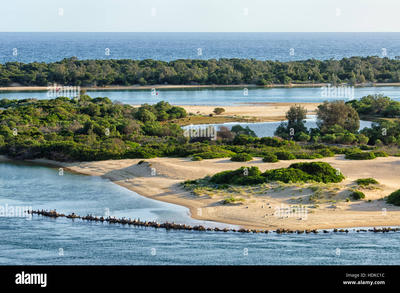 View of the inland waterways of Lakes Entrance with Bass Strait in the distance, Victoria, VIC, Australia - Stock Image